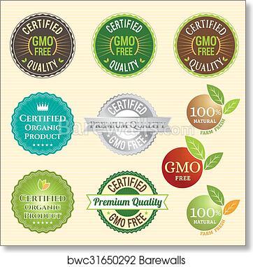 Art Print Of Gmo Free Non Gmo And Organic Guarantee Tag Logo Label