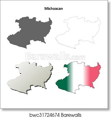 Michoacan State Map.Art Print Of Michoacan Blank Outline Map Set Barewalls Posters