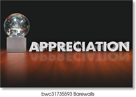 art print of appreciation word award trophy prize employee