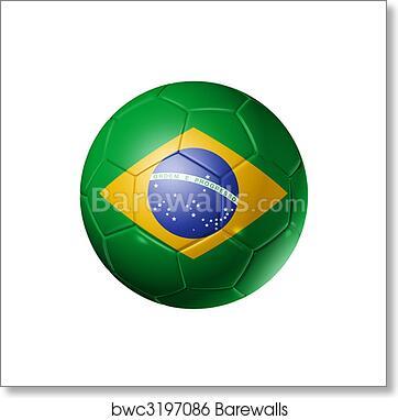 2668df03196 Soccer football ball with brazil flag