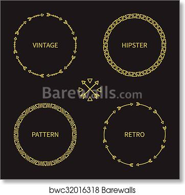 b983294358873 Set of gold hand drawn ethnic arrows frame. Doodles style. Tribal native  aztec vector illustration. Isolated elements, border for text. Ink  collection of ...