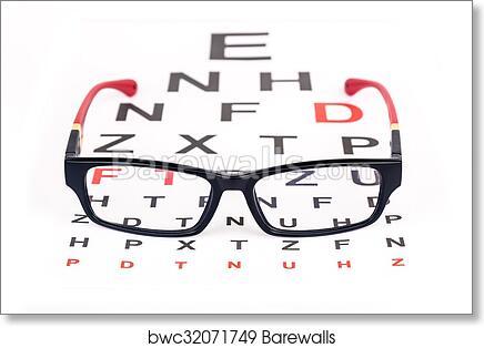 Picture Poster Art Optician Glasses Sunglasses Test Eye Chart Framed Print
