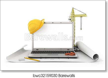 Art print of concept of computer design laptop with white blank art print of concept of computer design laptop with white blank screen near tower crane and construction tools on the blueprint malvernweather Images
