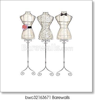 Hand Draw Fashion Illustration Art Print Barewalls Posters Prints Bwc32163671