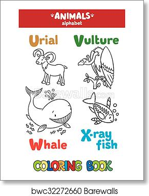 Animals alphabet or ABC. Coloring book art print poster