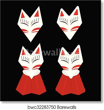 Inari Fox Kitsune White Face art print poster