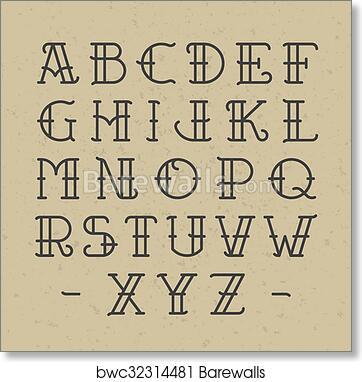 Art print of old school tattoo alphabet barewalls posters prints art print of old school tattoo alphabet thecheapjerseys Image collections