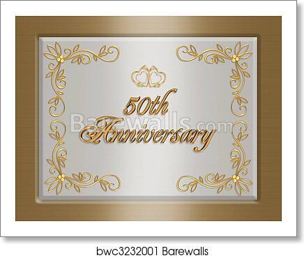50th Golden Wedding Anniversary Invitation Art Print Poster
