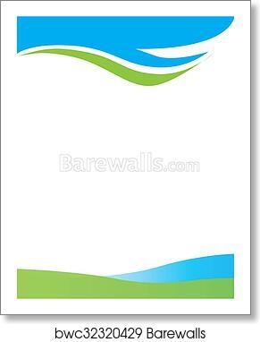 Art print of blue green swirl border barewalls posters prints art print of blue green swirl border altavistaventures Images