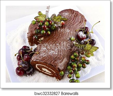 art print of christmas yule log cake - Christmas Yule Log Cake