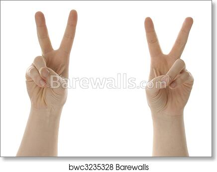Art Print Of Victory Or Peace Symbol With Hands Barewalls Posters