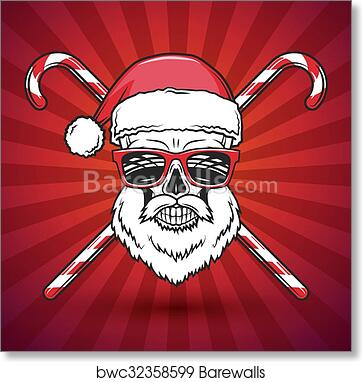 Heavy Metal Christmas.Bad Santa Claus Biker With Candy Cones Print Design Vintage Heavy Metal Christmas Portrait Rock And Roll New Year T Shirt Illustration Art Print