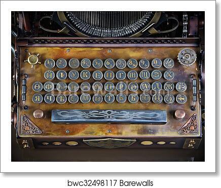 Typewriter keyboard art print poster