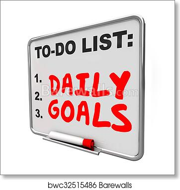 art print of daily goals to do list message board priorities tasks