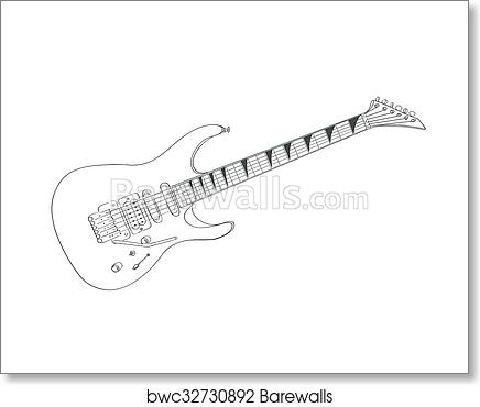 Electric Guitar Drawing On White Line Art Vector Illustration Art Print Barewalls Posters Prints Bwc32730892