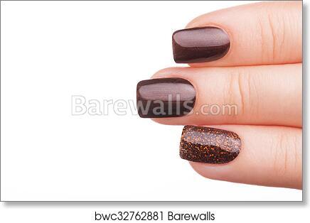 Brown nail polish on the nails, Art Print | Barewalls Posters ...