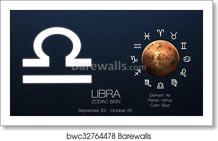 Zodiac sign - Libra  Cool astrologic infographics  Elements of this image  furnished by NASA art print poster