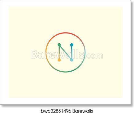 Art print of abstract letter n logo design template colorful lined art print of abstract letter n logo design template colorful lined creative sign universal vector icon maxwellsz