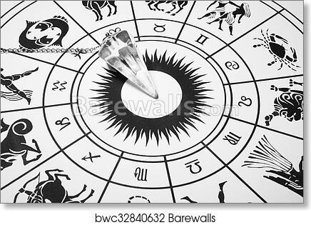 Art print of crystal pendulum with zodiac wheel
