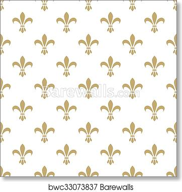 Art Print Of Fleur De Lis Seamless Vector Pattern French Vintage