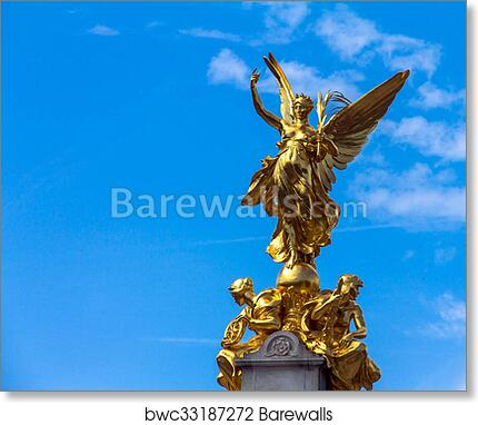 Art Print of Nike (Goddess of Victory) Statue on the Victoria Monument  Memorial outside Buckingham Palace, London