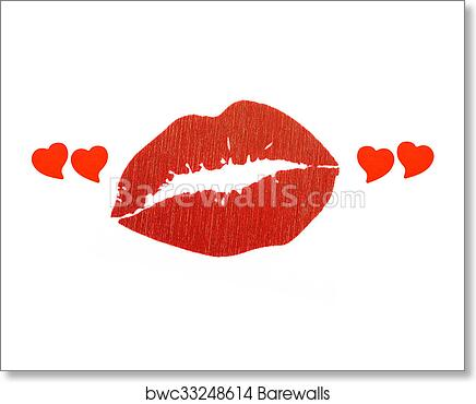 Red lips in heart quotes art print poster