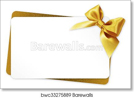 Art Print Of Gift Card With Golden Ribbon Bow Isolated On White