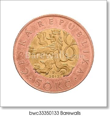 Czech Crown Coin, 50 CZK, Fifty Crowns art print poster