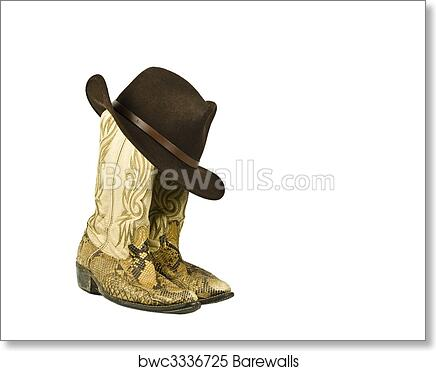Art Print of Dirty worn cowboy boots with hat  8f968fbd1866