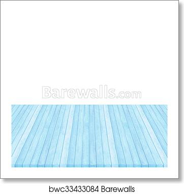 Art Print Of Wood Floor Blue Pastel Colour Perspective On White Background