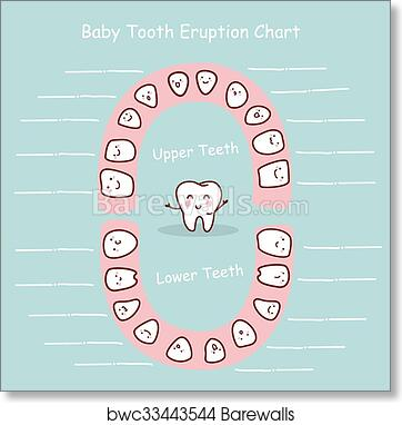 photo about Baby Tooth Chart Printable known as Child teeth chart heritage artwork print poster