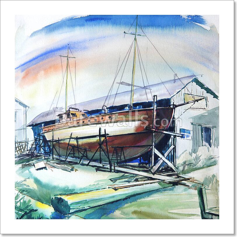 Sea Colors With Brown Boat Art Print Home Decor Wall Art Poster N Ebay