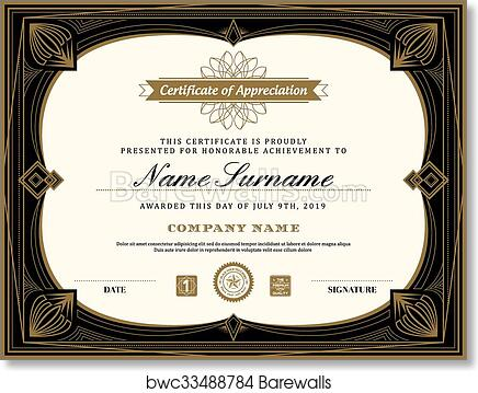art print of vintage retro art deco frame certificate background