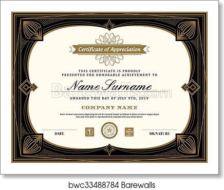 Vintage retro art deco frame certificate background template art print  poster