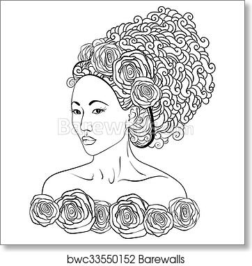 Art Print of Hand-drawn vector illustration of a asian beautiful ...