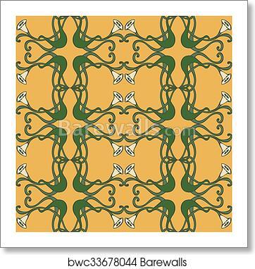 Art Nouveau Art Deco Modern Vintage Elements Seamless Pattern Art Print Poster