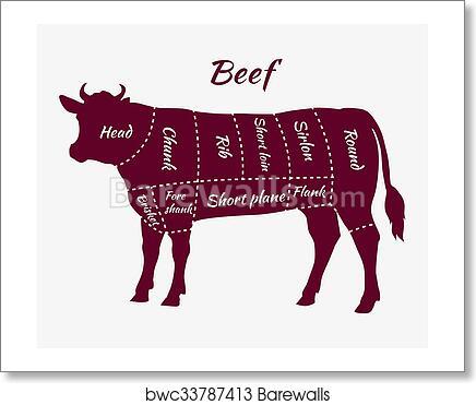 Art Print Of Scheme Of Beef Cuts For Steak And Roast Barewalls