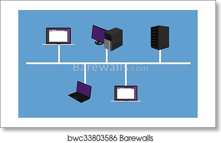 Art print of bus network topology lan design networking hardware art print of bus network topology lan design networking hardware backbone connected publicscrutiny Images