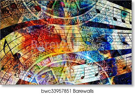 Art Print Of Ancient Mayan Calendar And Music Note Cosmic Space With Stars Abstract Color Background Computer Collage