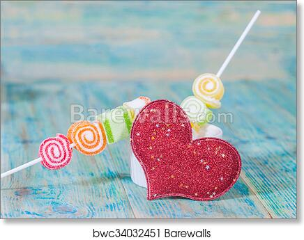 Art Print Of Valentines Day Candy In Glass Jar Barewalls Posters