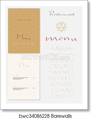 art print of set of vintage style restaurant menu barewalls
