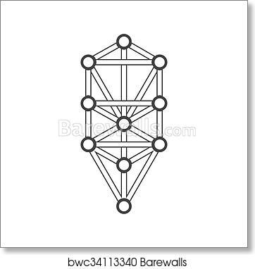 Art Print Of Monochrome Outline Sacred Tree Of Life Diagram