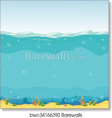 Underwater Seamless Landscape Cartoon Background For Game Design Art Print Poster