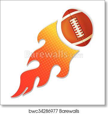 Football On Fire Logo Art Print Poster
