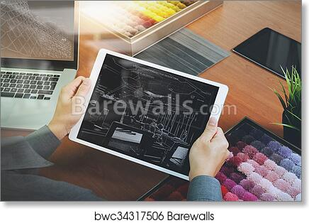 interior designer hand chosing carpet sample with blank new modern computer laptop and pro digital tablet with material board and digital design diagram layer on wooden desk as concept?ph=8.0&pw=10.0&print_border=0.5&fit=false&flip=false&stretch_to_fit=false&print_colorfilter=no_filter&bits=&side_style=&units=in&frame_id=0&frame_type=custom&show_banner=true&artist_attr_name=false&artist_attr_show=true&artist_attr_title=false&artist_attr_format=stacked&artist_attr_font=Palatino Roman&artist_attr_size=medium&custom_x_pct=&custom_y_pct=&custom_w_pct=&custom_h_pct=&bleed_size=&is_custom=false&can_edit_frame=true&object_width=10.0&object_height=8.0&fit_select=False&internal_sku=&m1= 1&m2= 1 art print of interior designer hand chosing carpet sample with blank