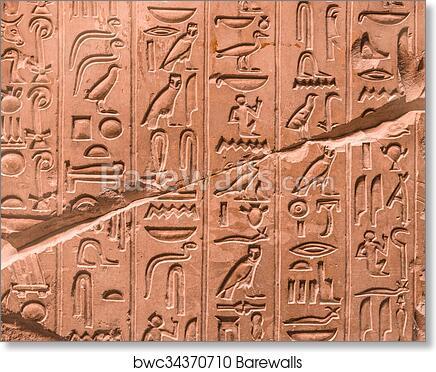 Art Print of Ancient egyptian hieroglyphs on the wall | Barewalls ...