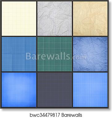 Art print of collection of blueprint background barewalls posters collection of blueprint background millimeter engineering paper blue graph paper background graph paper for building and architectural drawings malvernweather Choice Image