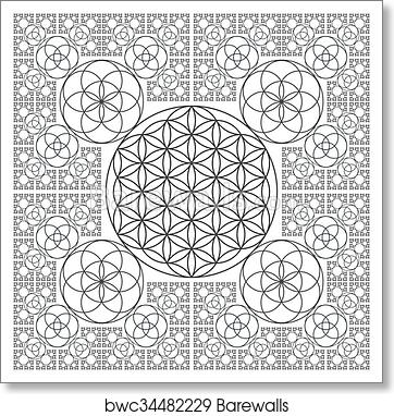 Circle outline flower of life fractal sacred geometry, Art Print