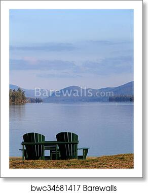 Two Adirondack Chairs At The Beach Art