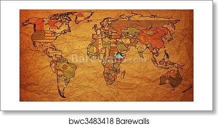 Art print of ethiopia on world map barewalls posters prints art print of ethiopia on world map gumiabroncs Image collections